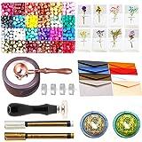 Wax Seal Set, ANBOSE 745pcs Wax Sealing Kit with Wax Seal Beads, Sealing Wax Warmer, Envelopes, Wax Seal Stamp Flower Cards a