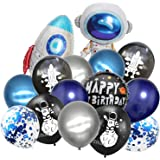 Outer Space Party Supplies,to The Moon Theme Birthday Party Balloon Decoration, Astronaut Rocket Foil Mylar Balloon and Color