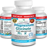 Magnesium Glycinate 400 mg - 200 Tablets - High Absorption, Non Buffered Bisglycinate Mag Supplement for Sleep, Leg Cramps, H