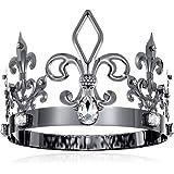 DcZeRong Black King Crown Birthday King Crowns Adult Men Crown Costume Metal Crowns