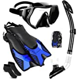 Ninetails Mask Fin Snorkel Set with Adult Full Foot Pocket Adjustable Flippers, Panoramic View Anti-Fog Mask, Dry Top Snorkel