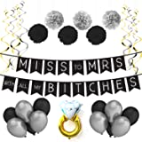 Sterling James Co. Miss to Mrs Classy & Sassy Bachelorette Black & Silver Party Pack - Bachelorette Party Decorations, Favors