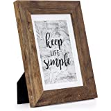 Home&Me 5x7 Rotten Brown Picture Frame - Made to Display Pictures 4x6 with Mat or 5x7 Without Mat - Wide Molding - Wall Mount