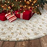 Meriwoods Christmas Tree Skirt, 48 inches Large Luxury Thick Xmas Decorations, White Plush Faux Fur with Silver Sequin Snowfl
