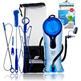 FREEMOVE 2L Hydration Bladder with Cleaning Kit or 3L Water Bladder >Blue or Green< Leak Proof Hydration Pack, Tasteless & BP