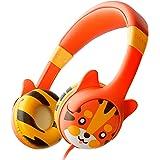 KidRox Tiger-Ear キッズ用ヘッドホン 85dB 音量制限 調節可能で安全な聴覚保護 絡まないケーブル 有…