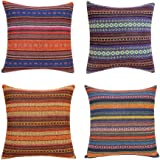 Merrycolor Decorative Throw Pillow Cover for Couch Sofa Bed Bohemian Retro Stripe Cotton Blend Linen Pillow Case(Only Pillow