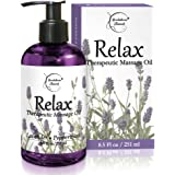 Relax Therapeutic Body Massage Oil - with Best Essential Oils for Sore Muscles & Stiffness – Lavender, Peppermint & Marjoram