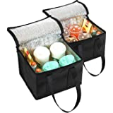 NZ Home 2 Pack Collapsible Coolers 29L x 21H x 23W | Hot & Cold Food Delivery Tote Bags | Perfect Mens Lunch Box or Adult Lun