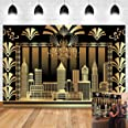7x5ft The Great Gatsby Photography Backdrop Roaring 20's 20s Themed Backdrop Vintage Dance Black Gold Art Event Decoration Bi