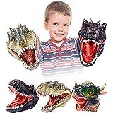 Geyiie Hand Puppets Toys,Dinosaur Hand Puppets for Kids,Realistic Latex Tyrannosaurus Rex,Velociraptor,Stygimoloch Puppets To