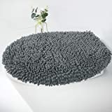 MAYSHINE Seat Cloud Bath Washable Shaggy Microfiber Standard Toilet Lid Covers for Bathroom -Dark Gray