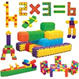 Educational Interlocking STEM Building Blocks 150 Pieces. Build Toy Accessories, Cubes, Shapes and More for ages 3 Year and U