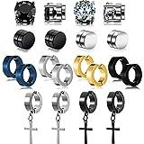 10 Pairs Magnetic Stud Earrings Stainless Steel Magnetic Earrings, Non-Piercing Cross Dangle Hoop Earrings Unisex Gauges Clip