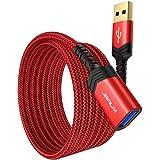JSAUX USB 3.0 延長ケーブル USB 延長 【2M 2本セット】 高速データ転送 aオス-aメス USBケーブル 延長コード 金メッキコネクタ プリンター、スキャナー、カメラ、USBディスク、キーボードに対応 (レッド)