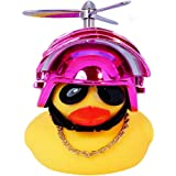 DYBADYSA 1 Pcs Cute Rubber Duck Toy Car Ornaments Yellow Duck Car Dashboard Decorations with Take-Copter Helmet for Adults, K