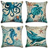 Mediterranean Turtle octopus Whale Seahorse Cotton Linen Cushion Cover Pillow Case Cover Home Chair Couch Outdoor Decor Recta