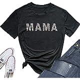 Leopard Mama Shirt Women Cute Mom Life Graphic Tee Shirt Funny Letter Print Casual T-Shirt Tops