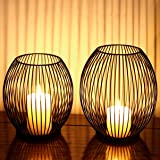SUJUN Matte Black Oval Candle Holders Set of 2 - Vintage Decorative Candle Stand for Indoor Outdoor, Events, Parties, Christm