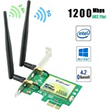 Ziyituod Wifi 無線LANカード AC1200Mbps PCI Express(PCIe) Intel AC-7265モジュール Bluetooth4.2対応 デュアルバンド(5GHz867Mbps+2.4GHz300Mbps) 2*6dBiアンテナ デスクトップ PC用 日本語説明書付き Windows10/8/7 OS対応(WIE7265)