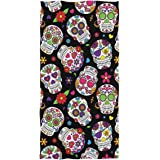Wamika Day of The Dead Sugar Skull Hand Towels Ultra Soft Towel Heart Flower Absorbent Hand Towel Guest Bath Towels Washcloth
