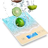 Nicewell 22lb/10kg Food Scale, Digital Kitchen Scale Measures Grams and Ounces, Beautiful Beach with Water Resistant Tempered