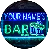 Personalized Your Name Est Year Theme Bar Beer Mug Decoration Dual Color LED Neon Sign Green & Blue 400 x 300mm st6s43-w1-tm-