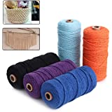 HAPYLY Pack of 5 Macrame Cord Natual Macrame Cotton Cord DIY Craft Cord Spool Twine Rustic String Cotton Rope for Wall Hangin