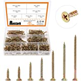 Rustark 420Pcs [#7 5/8'' to 2-1/2''] Zinc Plated Coarse Thread Phillips Drywall Screws with Bugle Head Assortment Kit for Dry