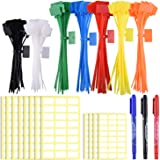 SIQUK 160 Pieces Zip Tie Tags Colorful Zip Tie Labels in 4/6 Inches Self Locking Cable Tie Marker with 288 Pcs White Labels a