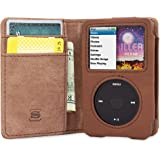iPod Classic Case, Snugg Brown Leather Leather Flip Case [Card Slots] Executive Apple iPod Classic Wallet Case Cover and Stan