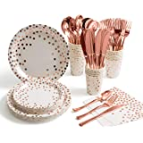 175 Pieces Rose Gold Party Supplies - Rose Gold Dot on White Paper Plates and Napkins Cups Silverware Serves 25 Sets for Wedd