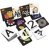 TUMAMA Baby Black White Flash Cards, High Contrast Visual Stimulation Learning Flashcards, Learning Alphabet Shapes Color Car