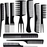 Ultikare Hair Comb Set, Professional Salon Hair Styling Barber Combs Kit 10 Piece Plastic Fine and Wide Tooth Hair Combs for