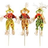 AIPINQI Halloween Scarecrow Decorations, 3 Pack Small Scarecrow Decoration Autumn Thanksgiving Decoration Props Ornaments Pen