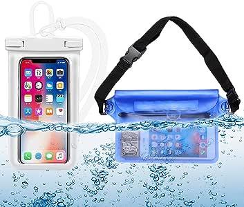 携帯 電話 防水 袋 2 点 お 得 セット 汎用 水中 撮影 携帯 タッチパネル 防水 袋 温泉 水泳 ダイビング 白