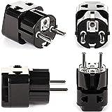 OREI 2 in 1 USA to Europe Adapter Plug (Schuko, Type E/F) - 4 Pack, Black