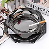 Ashtray, Crystal Ash Tray Holder for Home Office Tabletop Decoration, Gift Ashtray, Beautiful Decoration Craft, Black
