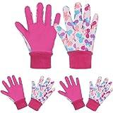 3 Pairs Soft & Comfortable Design for age 5-9 Kids Gardening Gloves,Yard Garden Work Gloves
