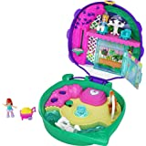 Polly Pocket Pocket World Lil' Ladybug Garden Compact with Fun Reveals, Micro Polly and Lila Dolls, Wheelbarrow with Flowers