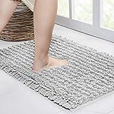 Walensee Bathroom Rug Non Slip Bath Mat (24x17 Inch Light Grey) Water Absorbent Super Soft Shaggy Chenille Machine Washable D