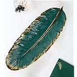 E-Senior Jewelry Tray Marble Ceramic Jewelry Dish Holder Rings Earrings Bracelet Watch Organizer (Green)