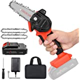 """Mini Cordless Chainsaw Kit, Upgraded 4"""" One-Hand Handheld Electric Portable Chainsaw, 21V Rechargeable 3000mAh Battery Operat"""