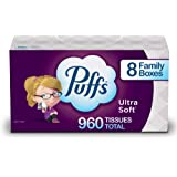 Puffs Ultra Soft Non-Lotion Facial Tissues, 8 Family Boxes, 120 Tissues Per Box (960 Tissues Total)