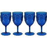 Le Cadeaux Break Resistant Polycarbonate Fleur Glasses, Blue, Set of 4, (15 ounce Wine)