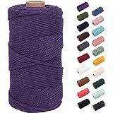 NOANTA Deep Purple Macrame Cord 3mm x 109yards, Colored Macrame Rope, 3 Strand Twisted Cotton Rope Macrame Yarn, Colorful Cot