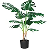 """CROSOFMI Artificial Monstera Deliciosa Plant 37"""" Tropical Palm Tree with 9 Leaves in Pot for Indoor Outdoor House Home Office"""
