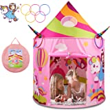 BATURU Princess Castle Tent with Unicorn Ring Toss Game, Kids Play Tent Toys for 2 3 4 Year Old Girls, Kids Pop Up Tent Palyh