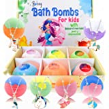 Bath Bombs for Kids with Surprise Unicorn Mermaid Jewelry Toys Inside. Handmade Organic Bubble Bath Gift Set for Girls. Fizzi