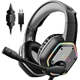 EKSA Gaming Headset with 7.1 Surround Sound Stereo, PS4 USB Headphones with Noise Canceling Mic & RGB Light, Compatible with